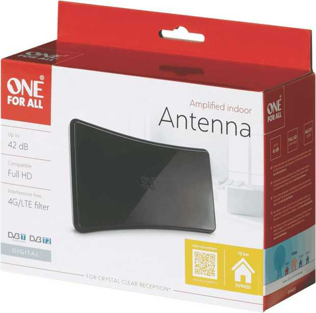 * Amplified indoor antenna for superb reception of DVB-T/ T2 television and DAB radio* Built-in...