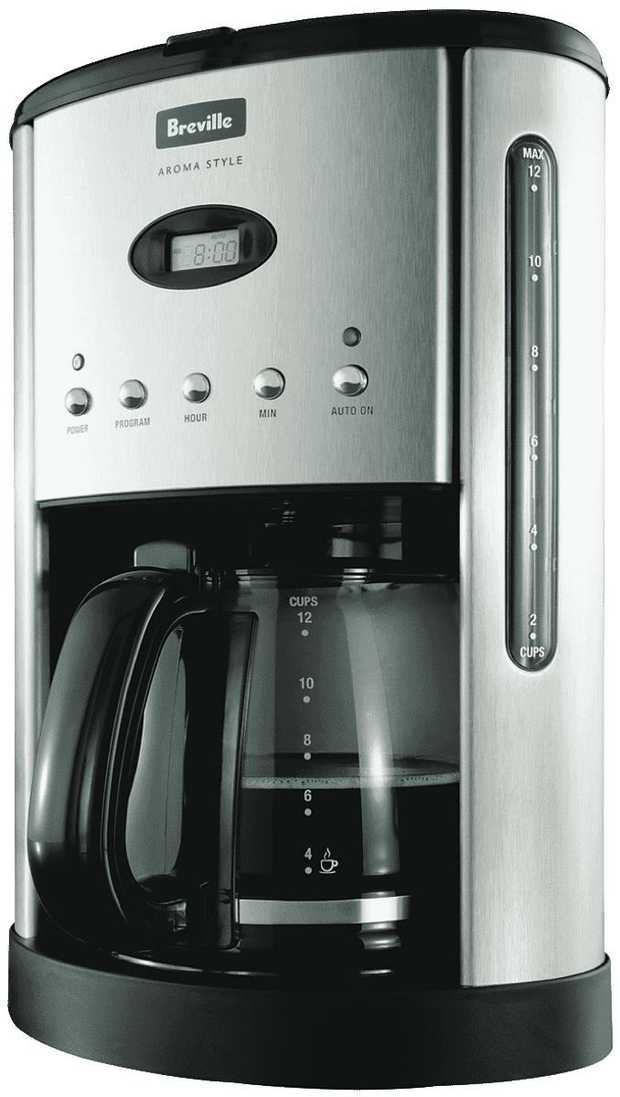 This Breville coffee machine has a stainless steel finish. It features a 12 cup brewing capacity, so...