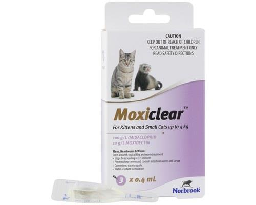 MOXICLEAR KITTENS AND SMALL CATS UP TO 4KG 3 PACKMoxiClear is formulated for kittens and small cats...