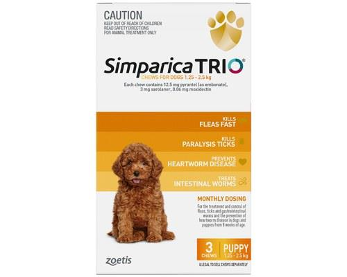 SIMPARICA TRIO 1.3-2.5KG YELLOW 3 PACKLittle dog. BIG parasite protection. Protect your teeny tiny pup...