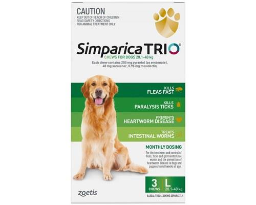SIMPARICA TRIO 20.1-40KG GREEN 3 PACKThis monthly oral chew offers your big dog protection against...