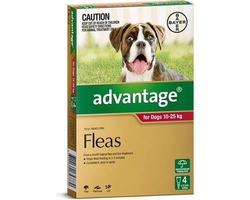 Advantage Flea Treatment for Dogs 10 - 25kg, 4 Months Supply RedAdvantage spot-on flea treatment...