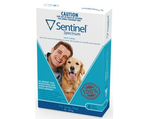 Sentinel Spectrum Flea, Heartworm and Intestinal Worm Treatment, Large for Dogs 22kg - 45kg , 6...