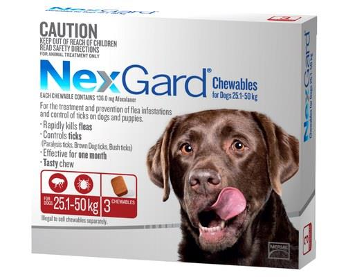 NexGard for Dogs Tick and Flea Treatment, 25.1-50kg, Red, 3 PackRecommended for:Dogs weighing...