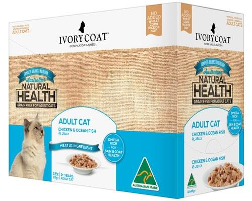 IVORY COAT ADULT CAT CHICKEN & OCEAN FISH IN JELLY 12X85GServe your cat the best that the land and...