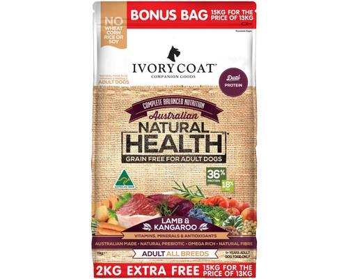 IVORY COAT ADULT LAMB & KANGAROO 15KG (13KG + 2KG EXTRA FREE)Here's another great kibble from Ivory...