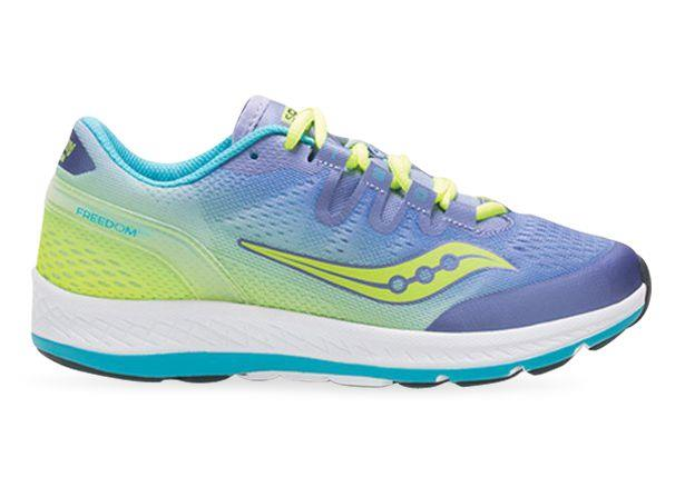 The Kids Saucony Freedom ISO is the first shoe to offer a full midsole of EVERUN Continuous Cushioning.