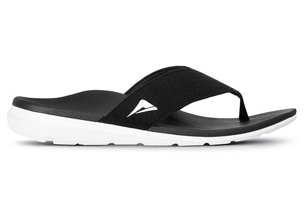 A comfortable orthotic thong, supporting and providing pain relief for sore feet.