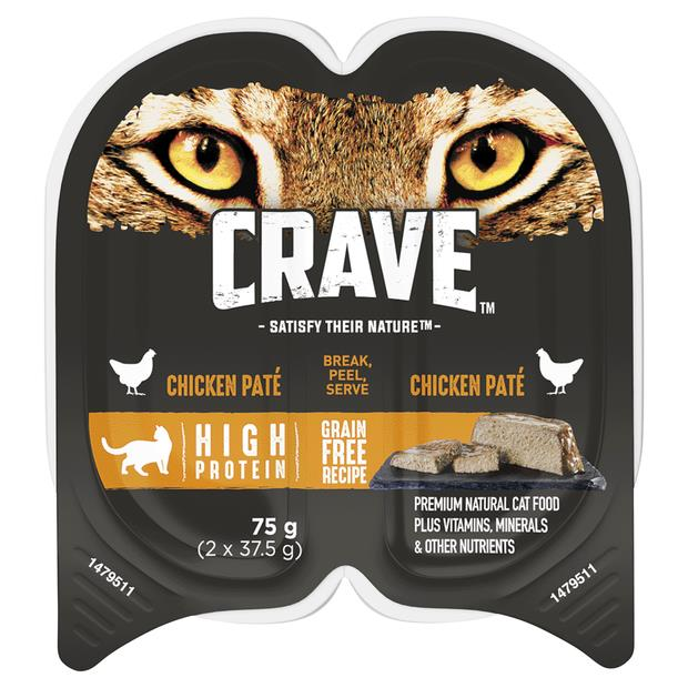 Crave Wet Cat Food Chicken Pate Tray 24 X 75g Pet: Cat Category: Cat Supplies  Size: 2.2kg  Rich...