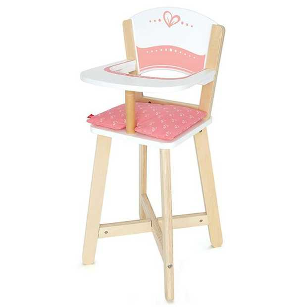 This mini highchair encourages dolls to sit up straight and eat their food. Ask what dollys...