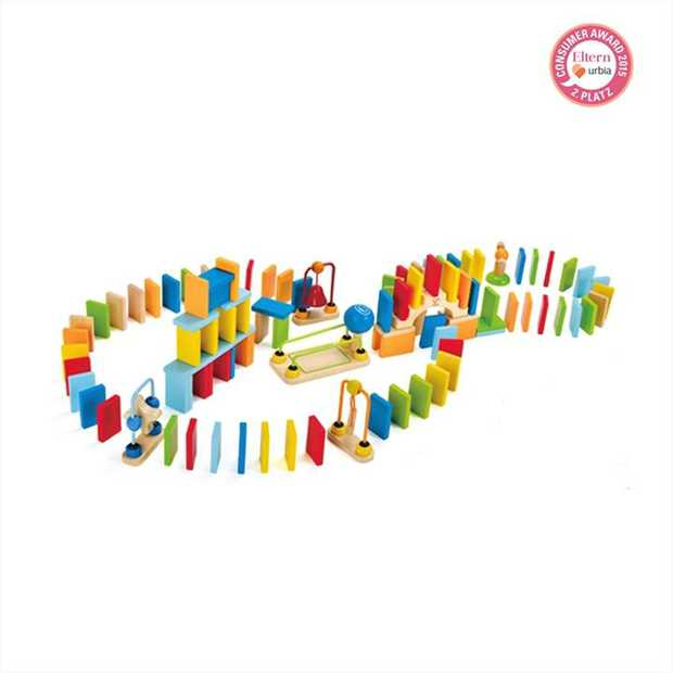 Build a colorful trail of 100 wooden dominoes. Add a bridge, bell, rails, and assorted tricks.