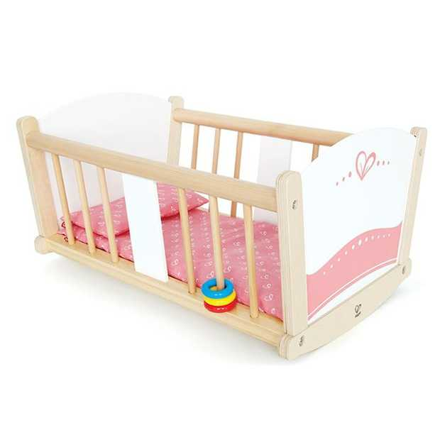 Rock dolly to sleep in this sturdy cradle. Sing lullabyes as your child rocks the cradle.