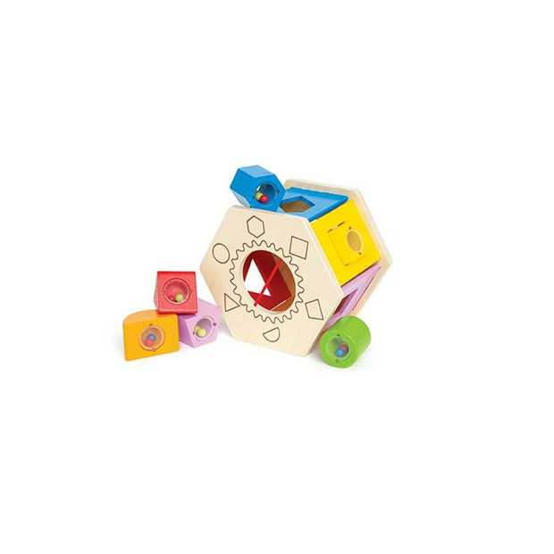 Bead-filled blocks add a new dimension of play to this multi-tasking sHape sorter. Trying...