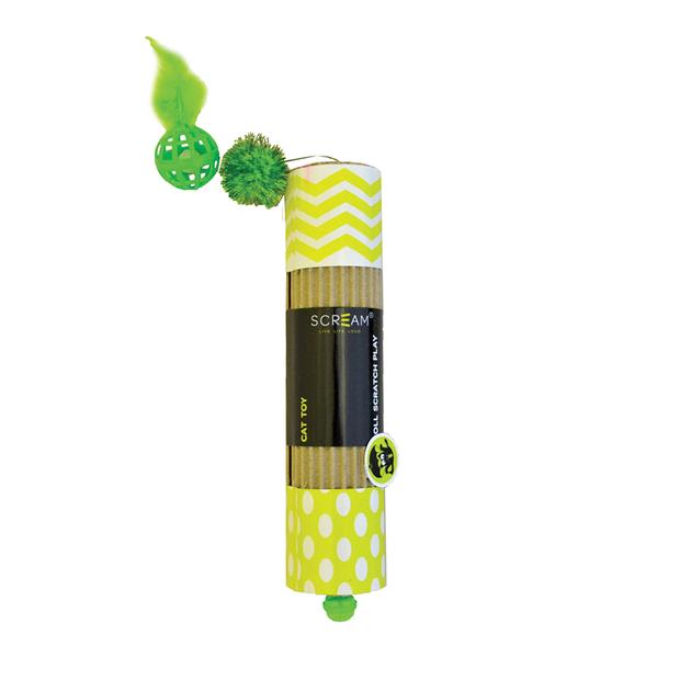 Scream Cat Toy Cardboard Roller Green Each Pet: Cat Category: Cat Supplies  Size: 0.9kg Colour: Green...