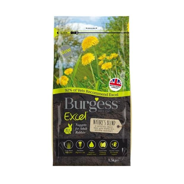 Burgess Excel Natures Blend Rabbit Nuggets 1.5kg Pet: Small Pet Category: Small Animal Supplies  Size:...