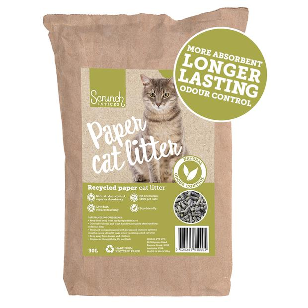Scrunch And Sticks Natural Recycled Paper Cat Litter 60L Pet: Cat Category: Cat Supplies  Size: 19.9kg...