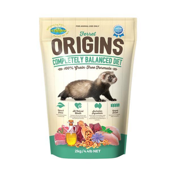 Vetafarm Origins Ferret Food 10kg Pet: Small Pet Category: Small Animal Supplies  Size: 10.1kg  Rich...