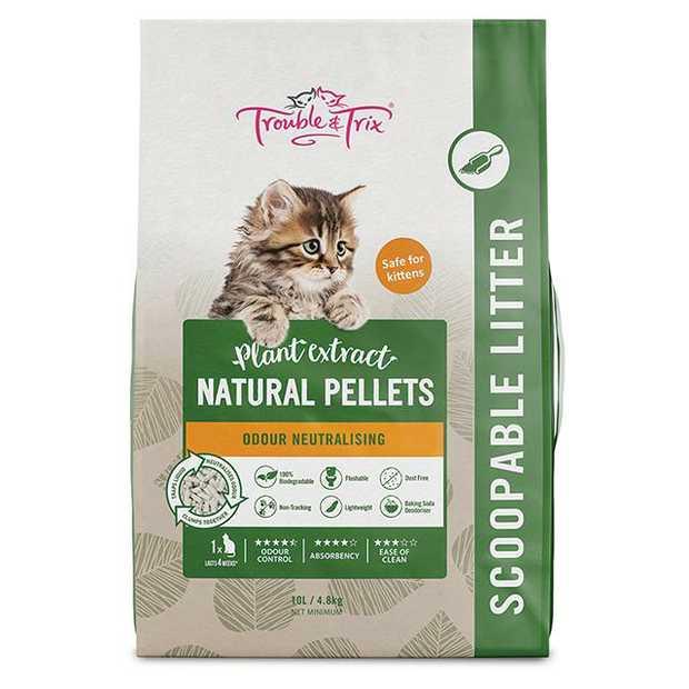 Trouble And Trix Natural Litter Pellets 10L Pet: Cat Category: Cat Supplies  Size: 4.8kg Material:...