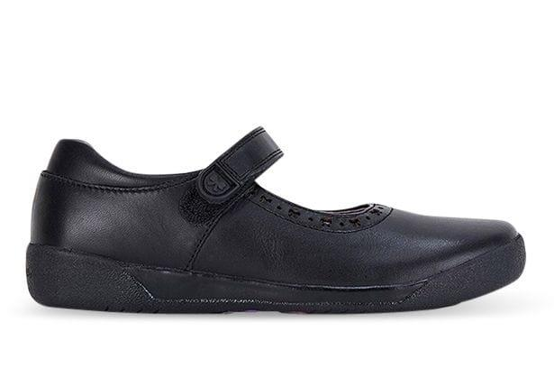 The Clarks Bow school shoe consists of full grain leather upper and lining, easy self-fastening straps...
