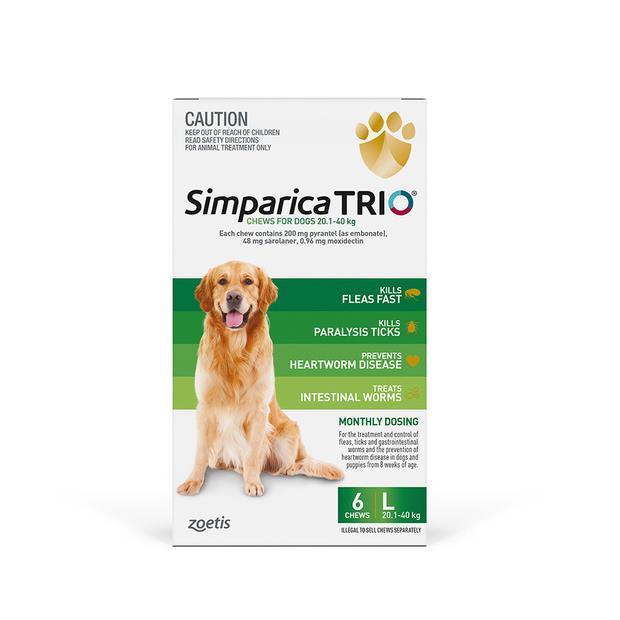 Simparica Trio Large 6 Pack Pet: Dog Category: Dog Supplies  Size: 0.5kg  Rich Description: Simparica...