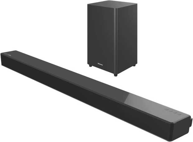 This Hisense sound bar speaker features three channels. You can pack a lot of punch into your listening...