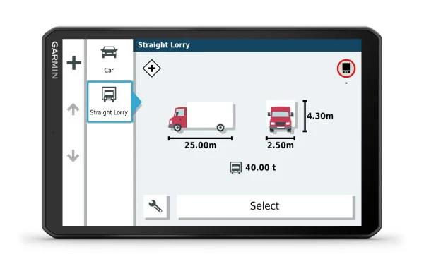 8-inch touchscreen display Custom truck routing Trucking parking Europe Popular truck routes Driver...