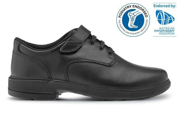 The Ascent Kids Scholar Velcro (D) Black is a traditional & highly durable black leather school shoe...