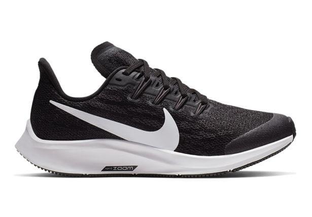 The Kids Grade School Nike Air Zoom Pegasus 36 running shoe promotes a secure fit that is both...