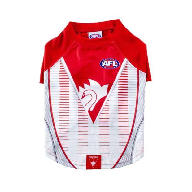 Afl Dog T Shirt Sydney Swans Large Pet: Dog Category: Dog Supplies  Size: 0.2kg Colour: Red  Rich...