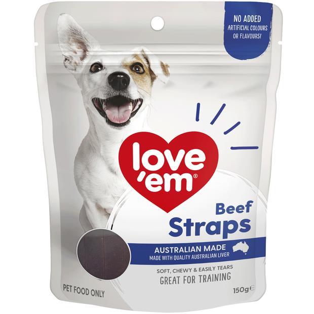 Love Em Beef Straps 150g Pet: Dog Category: Dog Supplies  Size: 0.2kg  Rich Description: Show your dog...