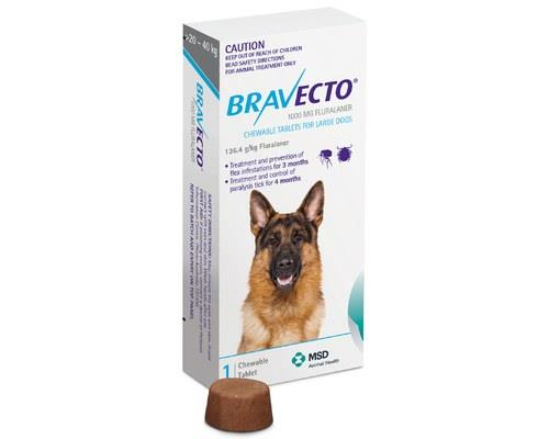BRAVECTO CHEW FOR LARGE DOGS (20-40KG) BLUE (1PK)Chewable oral flea treatments are an ideal way to...