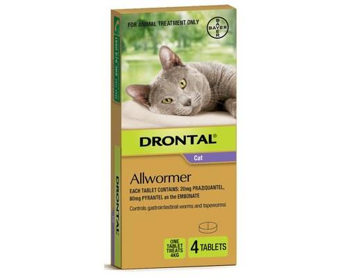 DRONTAL ALLWORMER ELLIPSOID CAT 4KG 4 PACKSuitable for:Cats up to 4kgDrontal Ellipsoid for Cats...