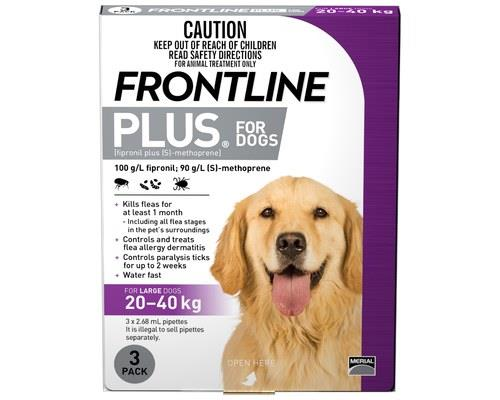 FRONTLINE PLUS DOG LARGE 20-40KG (3PK) - PURPLEFor the treatment and prevention fleas and control of...