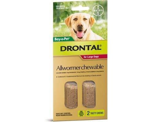DRONTAL ALLWORMER CHEWABLE DOG 35KG 2 PACKWorms are a threat to not only your dog but also your family.