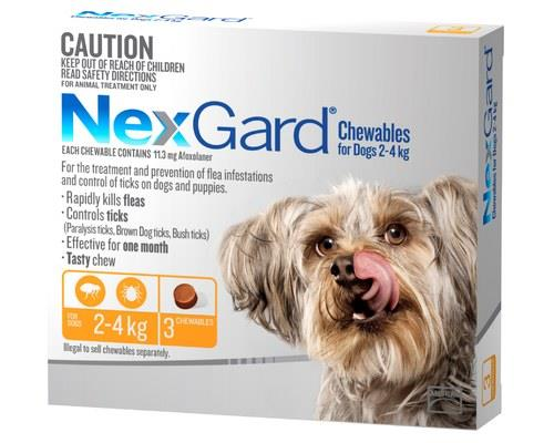 NexGard for Dogs Tick and Flea Treatment, 2-4kg, Orange, 3 PackRecommended for: Dogs weighing between...