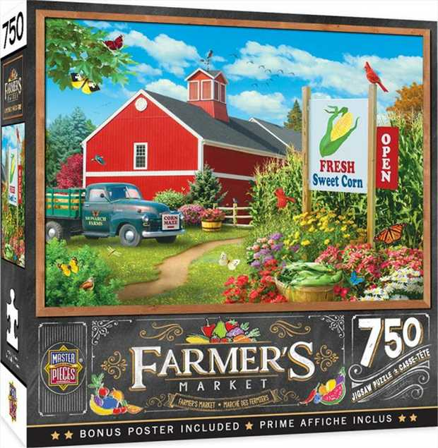"""This MasterPieces 18"""" x 24"""" 750pc Linen puzzle set at the local Farmer's Market. To..."""