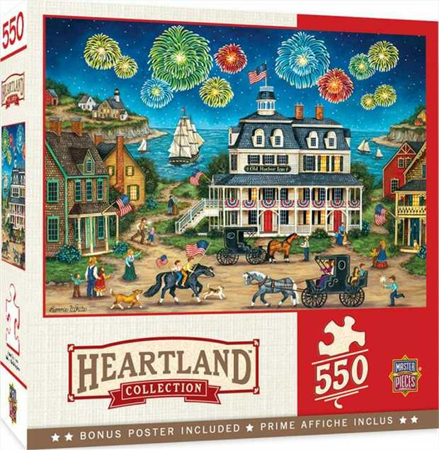 "This MasterPieces 24"" x 18"" 550PC Heartland puzzle was created by the talented Bonnie White."