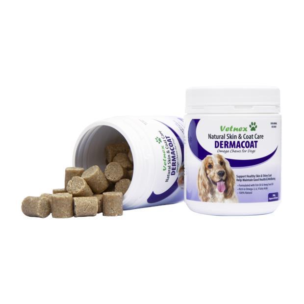 Vetnex Dermacoat Omega Chews 300g (60 Chews) Pet: Dog Category: Dog Supplies  Size: 0.4kg  Rich...