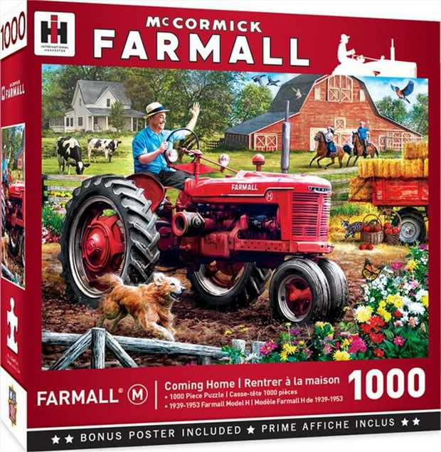 """his MasterPieces Farmall 19.25"""" x 26.75"""" 1000pc Puzzle features two different tractors - The..."""