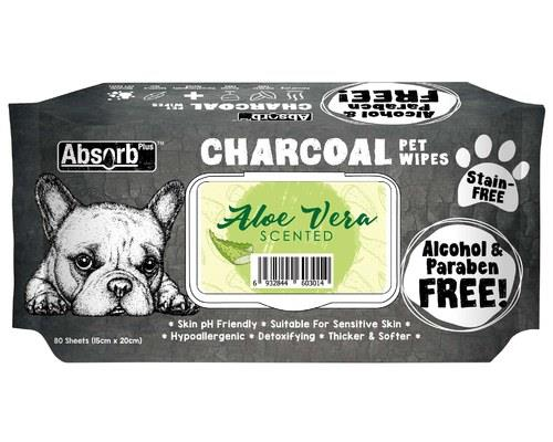 ABSORB PLUS CHAROCOAL ALOE VERA DOG WIPES 80 SHEETSThese Aloe Vera Wipes make it easy to keep your dog...