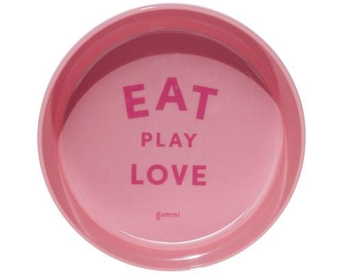 GUMMI PET TEXT MELAMINE BOWL PINK SMALLEat. Play. Love.The three tenets of a happy hound's life.Made of...