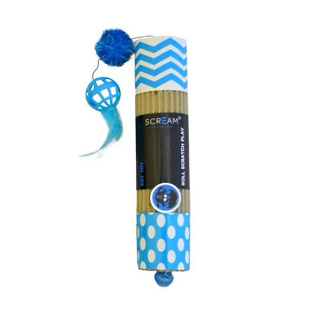 Scream Cat Toy Cardboard Roller Blue Each Pet: Cat Category: Cat Supplies  Size: 0.9kg Colour: Blue...