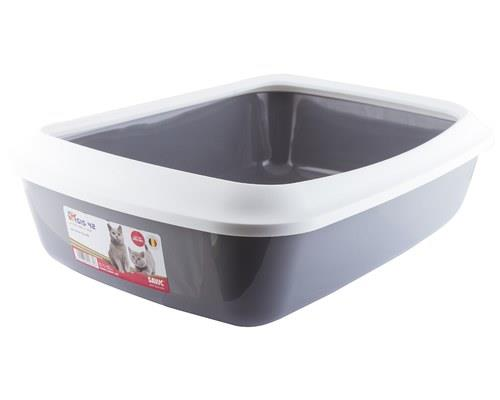 SAVIC IRIZ CAT LITTER TRAY WITH RIM WHITE COLD GREY 42CM The Isis Cat Litter tray is a neutral, plain...