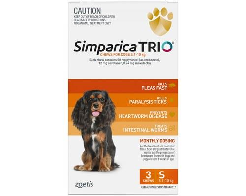 SIMPARICA TRIO 5.1-10KG ORANGE 3 PACKYour dog may fight you when you first try to give them this...
