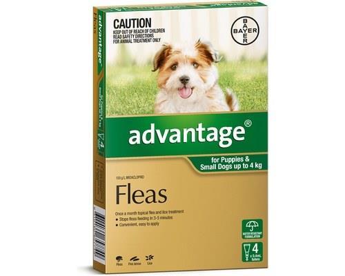 Advantage Flea Treatment for Puppies and Dogs Under 4kg, 4 Months Supply GreenAdvantage flea treatment...