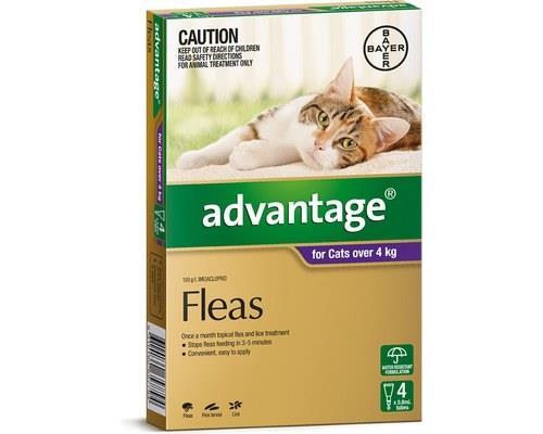 Advantage Flea Treatment for Cats over 4kg, 4 Months Supply PurpleAdvantage spot-on flea treatment...