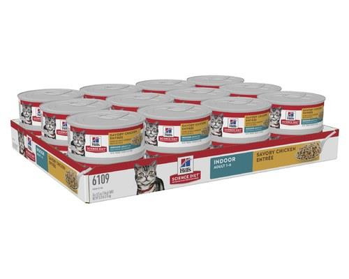 KEY BENEFITS: Science Diet Adult Indoor Cat Savory Chicken Entre Minced cat food lets you indulge your...