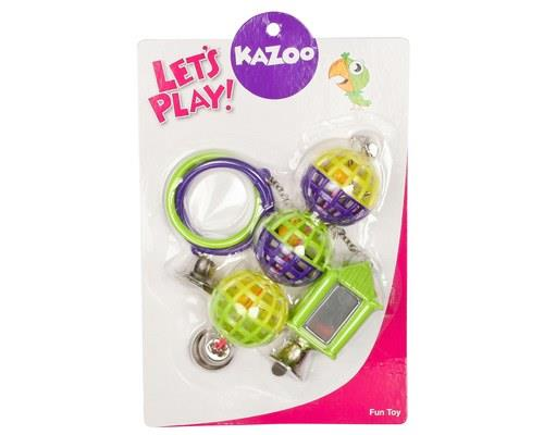 KAZOO MIRROR/BALL/RING SET GREEN/PURPLE  Toys for birds are ideal for keeping your bird mentally active...