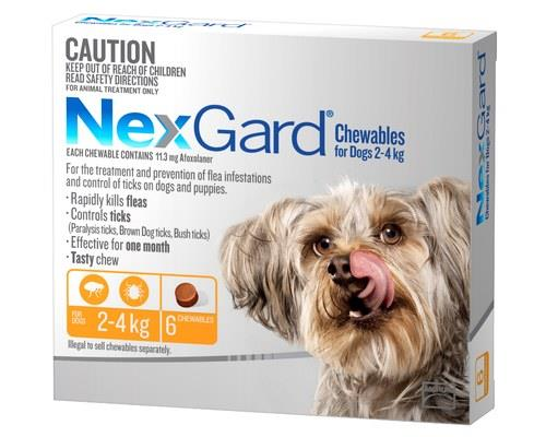 NexGard for Dogs Tick and Flea Treatment, 2-4kg, Orange, 6 PackRecommended for:Dogs weighing...