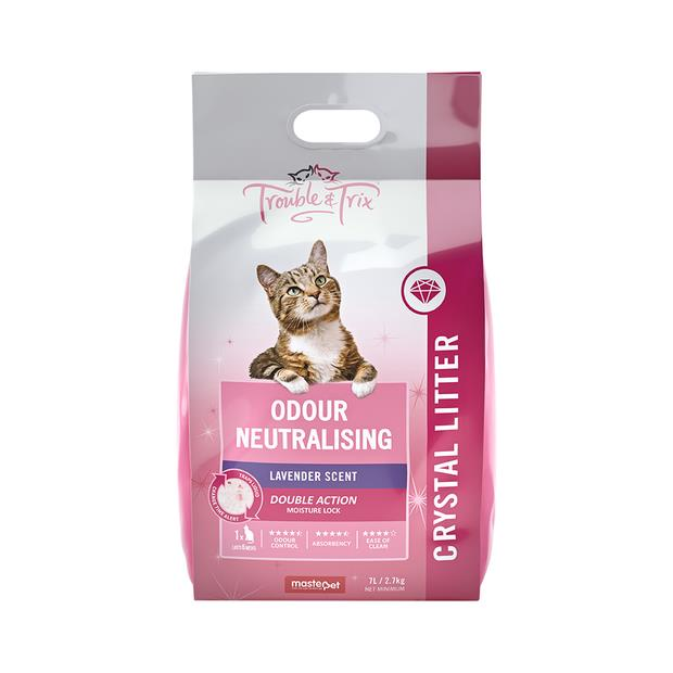 Trouble And Trix Crystal Litter Lavender 7L Pet: Cat Category: Cat Supplies  Size: 2.7kg Material:...